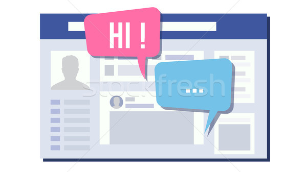 Social Page Design Vector. Speech Bubbles. Social Network Connection Design. Isolated Flat Illustrat Stock photo © pikepicture