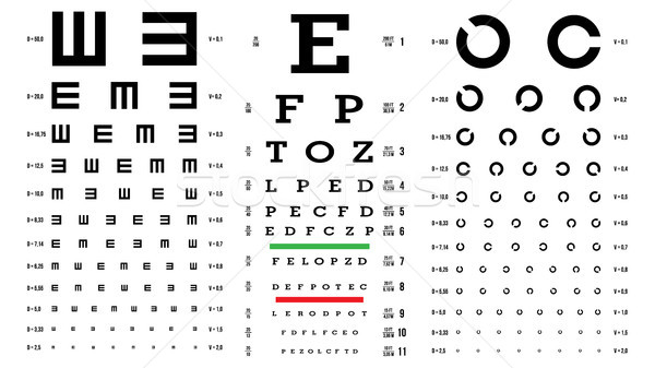 Eye Test Chart Vector. Vision Exam. Optometrist Check. Medical Eye Diagnostic. Different Types. Sigh Stock photo © pikepicture