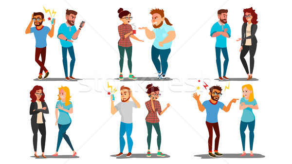 Quarrel People Set Vector. Concept Office Workers, Wife Husband Relationship Characters. Conflict. D Stock photo © pikepicture