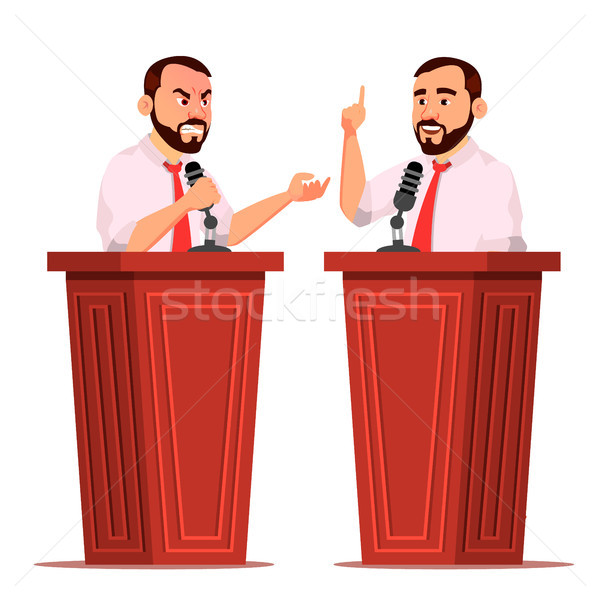 Speaker Man Vector. Podium With Microphone. Giving Public Speech. Debates. Presentation. Isolated Fl Stock photo © pikepicture