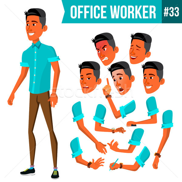 Office Worker Vector. Face Emotions, Various Gestures. Animation. Businessman Human. Modern Cabinet  Stock photo © pikepicture
