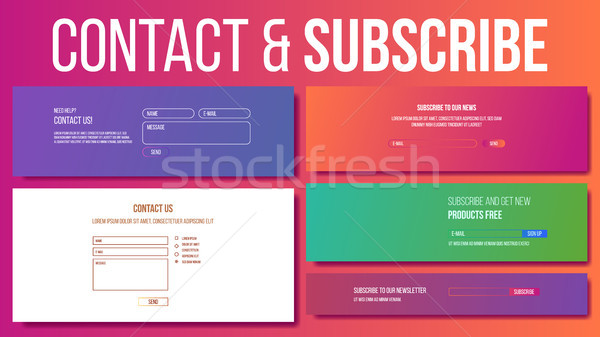 Website Contact, Subscribe Form Vector. Modern Template. Our Newsletter. Illustration Stock photo © pikepicture