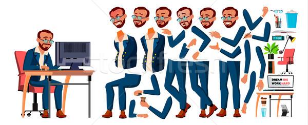 Office Worker Vector. Turkish. Turk. Animation Creation Set. Businessman Worker. Lifestyle Generator Stock photo © pikepicture