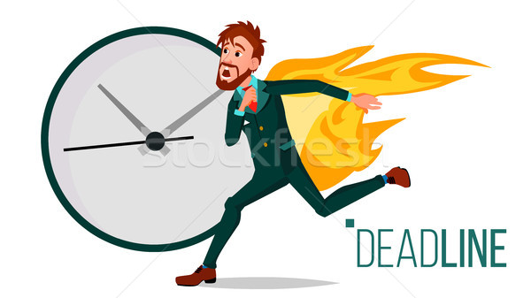 Deadline Concept Vector. Businessman On Fire. Project Managers Work Related Stress. Tasks Time Limit Stock photo © pikepicture