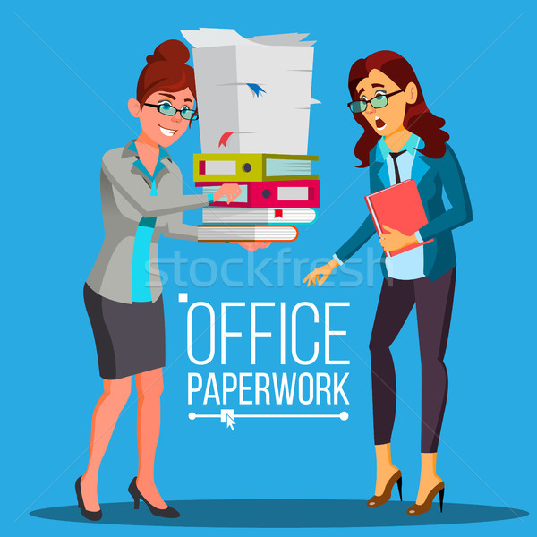Business Woman Doing Paperwork Vector. Office Worker. Very Busy Day. To Excessive Work. Accounting B Stock photo © pikepicture