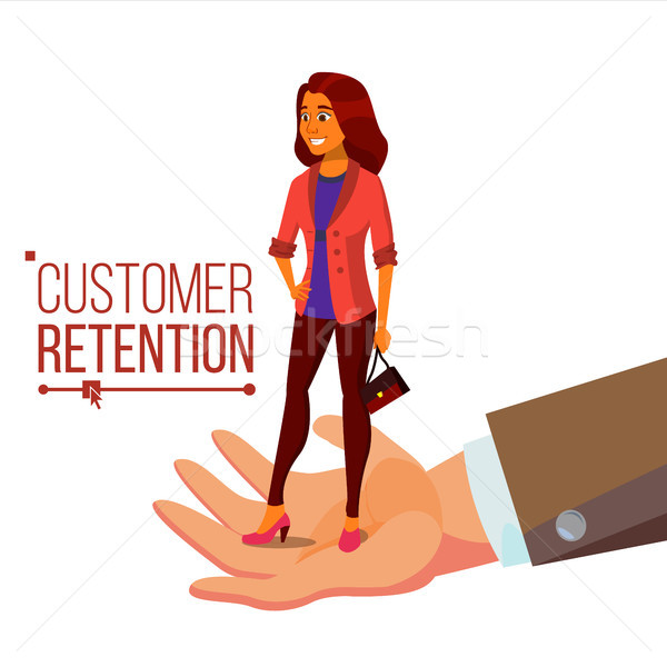 Customer Retention Vector. Businessman Hand With Woman Client. Customer Care. Save Loyalty. Support  Stock photo © pikepicture