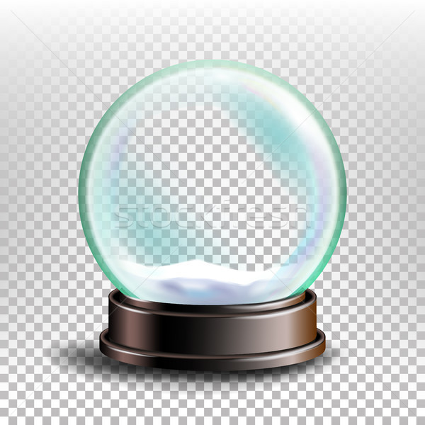 Christmas Snowglobe Vector. Glossy Dome. Magic Xmas Holiday Souvenir. Transparent Background . Reali Stock photo © pikepicture