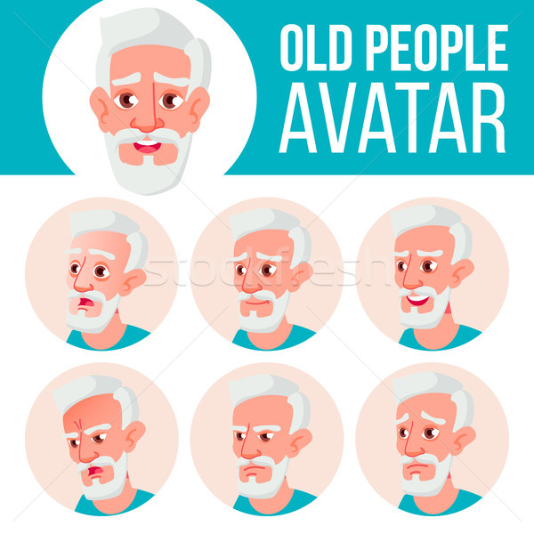 Old Man Avatar Set Vector. Face Emotions. Senior Person Portrait. Elderly People. Aged. Beauty, Life Stock photo © pikepicture