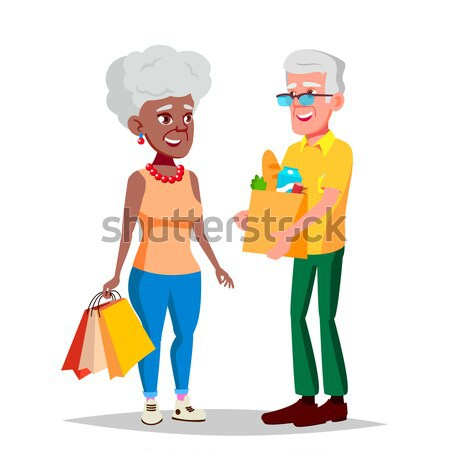 Elderly Couple Vector. Grandpa With Grandmother. Black, Afro American. Lifestyle. Couple Of Elderly  Stock photo © pikepicture
