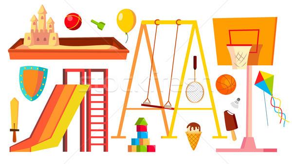 Recreio equipamento conjunto vetor crianças crianças brincando Foto stock © pikepicture