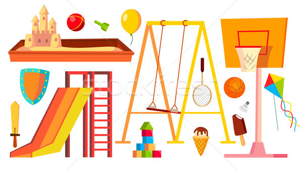 Playground Equipment Set Vector. Children, Kids Playing Area. Kindergarten Sandbox, Swings, Slide. I Stock photo © pikepicture