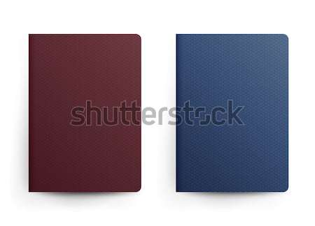 Passport Blank Vector. Front Cover. Realistic Template Illustration. Blue And Red Classic Passport.  Stock photo © pikepicture