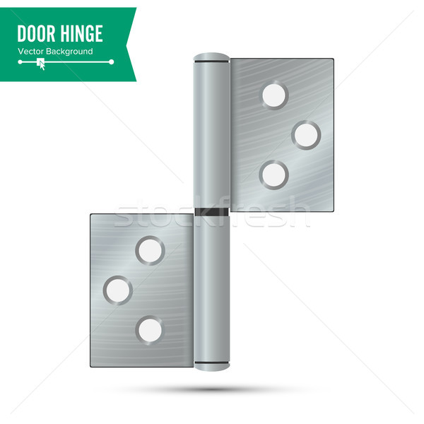 Door Hinge Vector. Classic And Industrial Ironmongery Isolated On White Background. Simple Entry Doo Stock photo © pikepicture