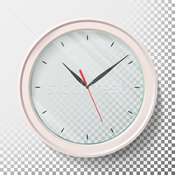 ストックフォト: 現実的な · 壁 · クロック · セット · 透明な · 顔