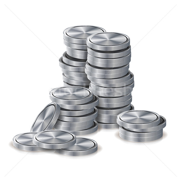Silver Coins Stacks Vector. Silver Finance Icons, Sign, Success Banking Cash Symbol. Realistic Isola Stock photo © pikepicture