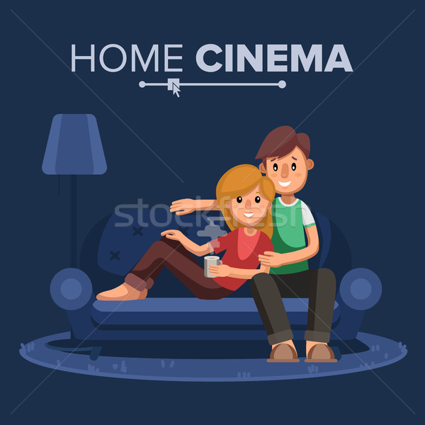 Young People Watching TV Vector. Drink Coffee, Relax At Home On Couch. Remote Control For TV Movie.  Stock photo © pikepicture