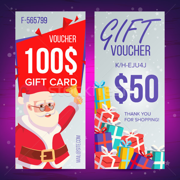 Christmas Voucher Vector. Vertical Banner. Merry Christmas. Santa Claus And Gifts. End Of The Year A Stock photo © pikepicture