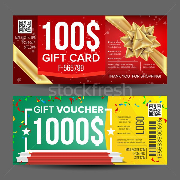 Voucher Coupon Template Vector. Design Concept For Invitation, Certificate, Flyer, Ticket. Horizonta Stock photo © pikepicture