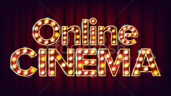 Online Cinema Poster Vector. Cinema Lamp Background. For Theater, Cinematography Advertising Design. Stock photo © pikepicture
