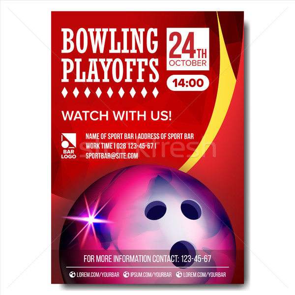 Bowling Poster Vector. Design For Sport Bar Promotion. Bowling Ball. Modern Tournament. A4 Size. Cha Stock photo © pikepicture