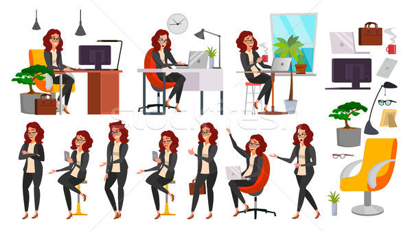 Business Woman Lady Character Vector. Working Female In Action. IT Startup Business Company. Clerk I Stock photo © pikepicture