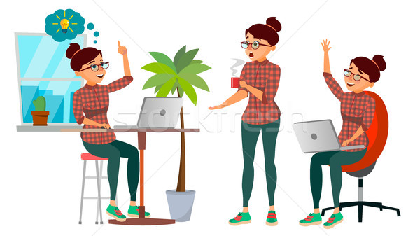 Business Woman Character Vector. Working Girl. Environment Process Creative Studio. Lifestyle Situat Stock photo © pikepicture