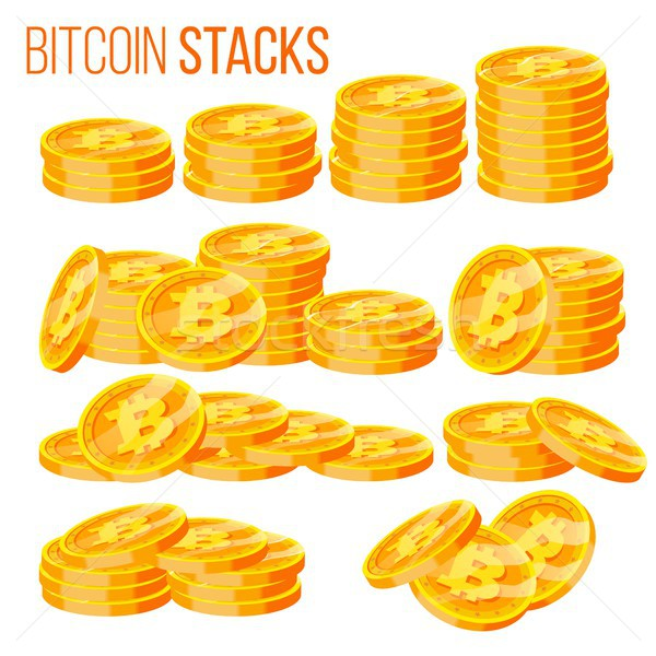 Bitcoin Stacks Set Vector. Crypto Currency. Virtual Money. Isolated Flat Cartoon Illustration Stock photo © pikepicture