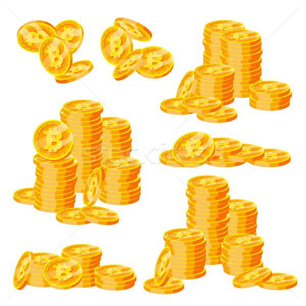 Bitcoin Stacks Set Vector. Crypto Currency. Virtual Money. Gold Coins Stack. Business Crypto Currenc Stock photo © pikepicture