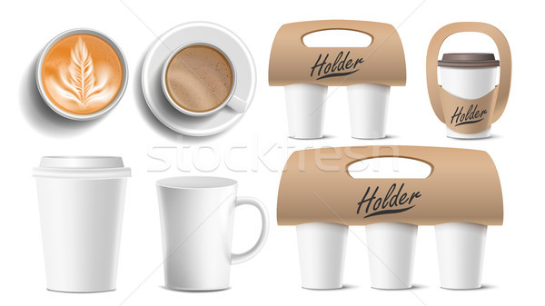 Coffee Packaging Vector. Cups Mock Up. Ceramic And Paper, Plastic Cup. Top, Side View. Cups Holder F Stock photo © pikepicture