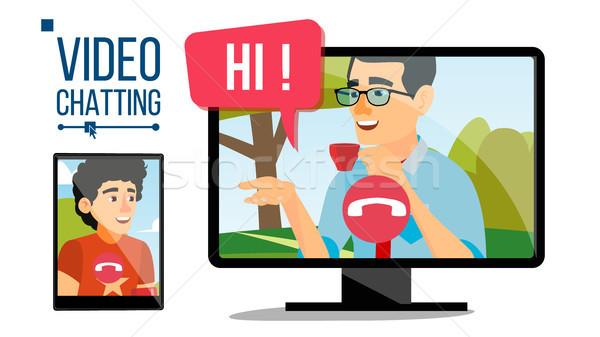 Vecteur conversation ligne web contact Photo stock © pikepicture