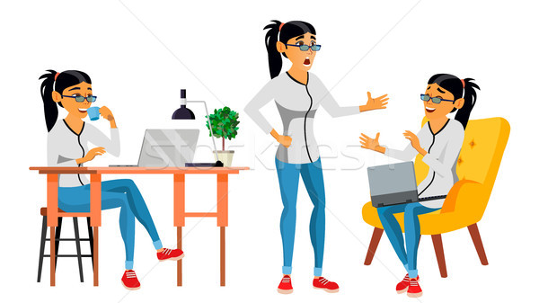 Business Woman Character Vector. Working Asian, Woman. Asiatic. Environment Process Creative Studio. Stock photo © pikepicture