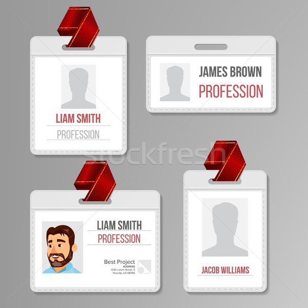 Identification Badge Set Vector. Id Card Blank. Name Template Profile Holder. Employee Identity. Hum Stock photo © pikepicture