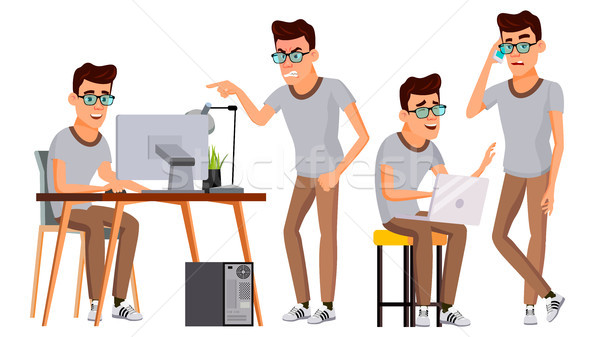 Office Worker Vector. Face Emotions, Gestures. Set. Business Man. Professional Cabinet Workman, Offi Stock photo © pikepicture