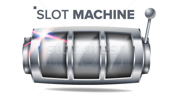 Slot Machine Vector. Silver Lucky Empty Slot. Big Win Banner Element. Spin Wheel. Fortune Jackpot Ca Stock photo © pikepicture