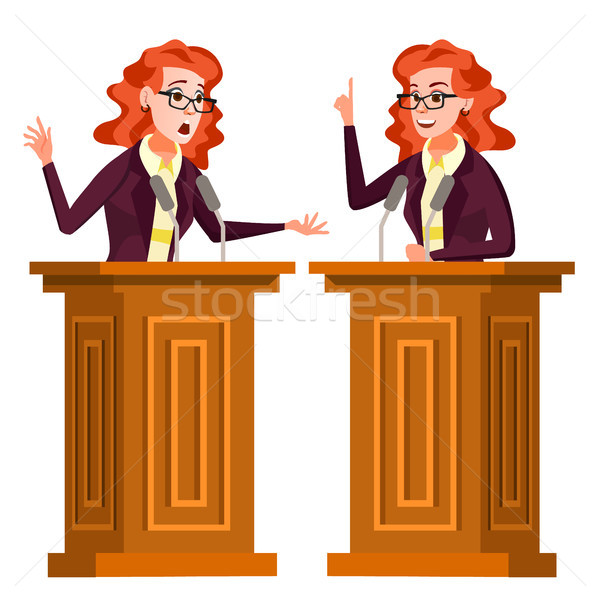 Speaker Woman Vector. Podium With Microphone. Giving Public Speech. Debates. Presentation. Isolated  Stock photo © pikepicture