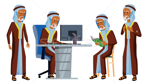 Arab Man Office Worker Vector. Ghutra. Old. Saudi, Emirates. Arabic Face Emotions, Various Gestures. Stock photo © pikepicture