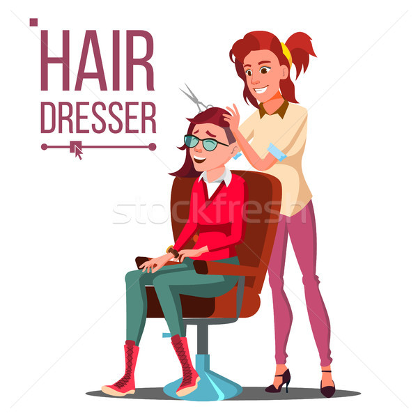 Hairdresser And Woman Vector. Beauty Salon. Hairbrush. Haircut. Styling. Isolated Flat Cartoon Illus Stock photo © pikepicture