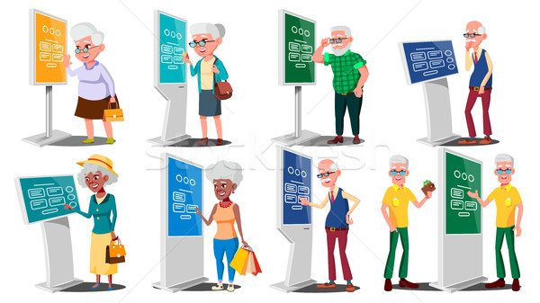 Old People Using ATM, Digital Terminal Vector. Man, Woman. Set. LCD Digital Signage For Indoor Using Stock photo © pikepicture