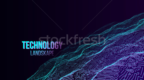 Abstract Digital Landscape Background Vector. Cyber Space. 80s Retro. Mountain. Technology Illustrat Stock photo © pikepicture