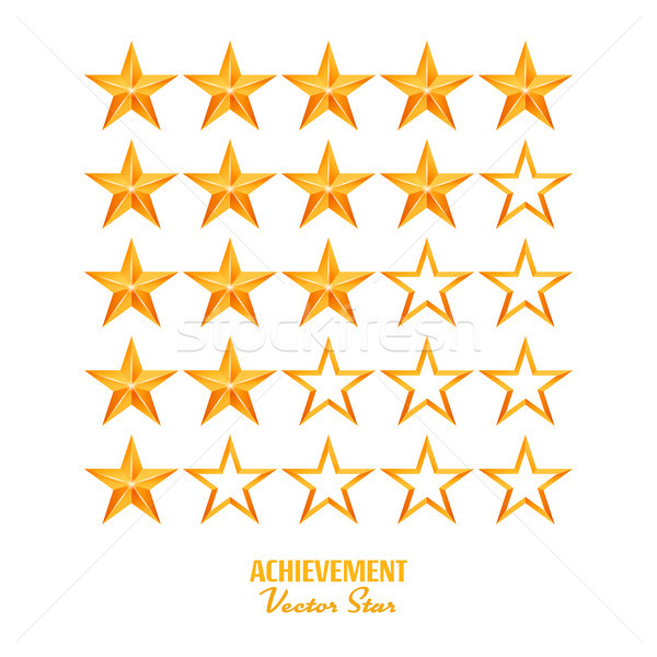 Achievement Vector Stars. For Game And Review Rating. Like Symbol, Succes Sign, Classify Concept, Re Stock photo © pikepicture