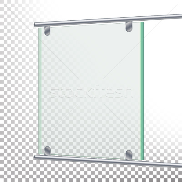 Advertising Glass Board Vector. Banner Mockup Illustration. Empty Glass Screen Banner Stock photo © pikepicture