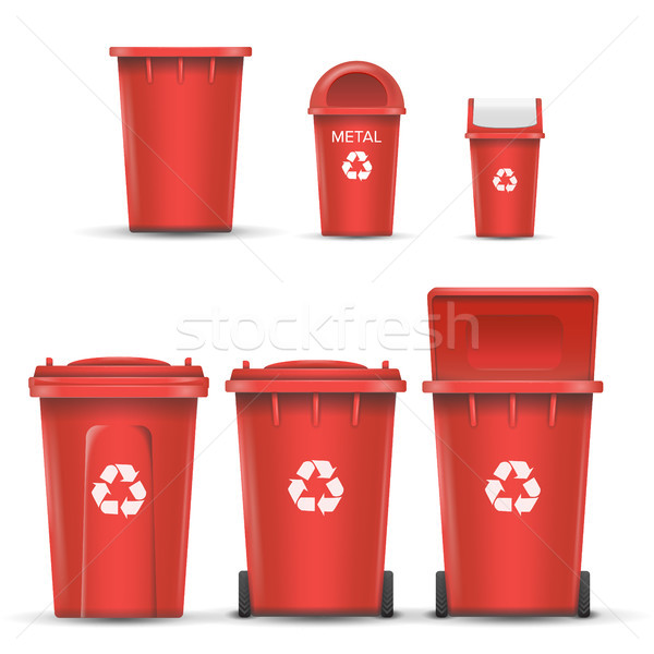 Red Recycling Bin Bucket Vector For Metal Trash. Opened And Closed. Front View. Sign Arrow. Isolated Stock photo © pikepicture