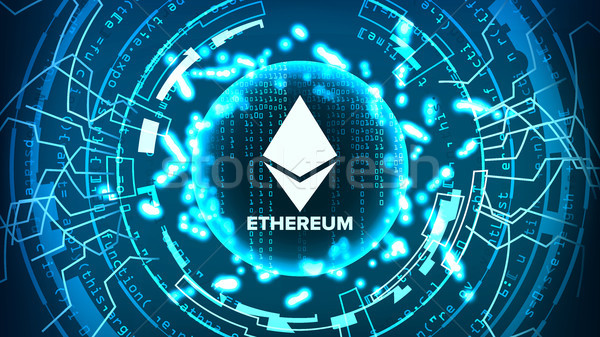 Ethereum Abstract Technology Background Vector. Binary Code. Fintech Blockchain. Cryptography. Crypt Stock photo © pikepicture