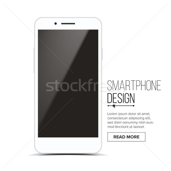 Smartphone Mockup Design Vector. White Modern Trendy Mobile Phone Front View. Isolated On White Back Stock photo © pikepicture