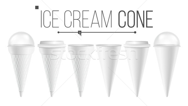 White Ice Cream Cone Mock Up Set Vector. For Ice Cream, Sour Cream. Different Food Bucket Cone Conta Stock photo © pikepicture