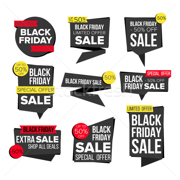 Black Friday Sale Banner Set Vector. Website Stickers, Black Web Page Design. Up To 50 Percent Off F Stock photo © pikepicture