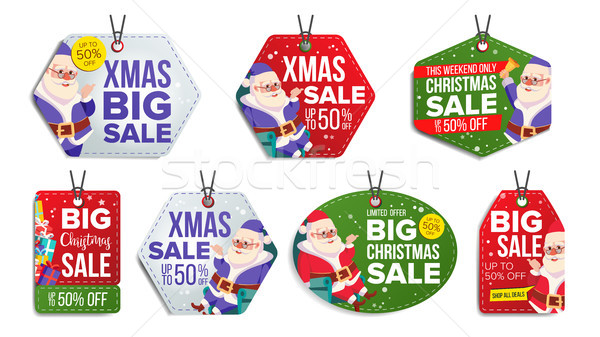 Stock fotó: Karácsony · vásár · címkék · vektor · hópelyhek · papír
