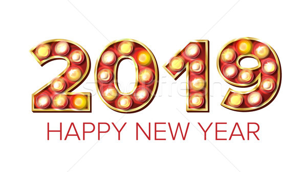 Stock photo: 2019 Happy New Year Vector. Background Decoration. Greeting Card Design. 2019 Light Sign. 3D Electri