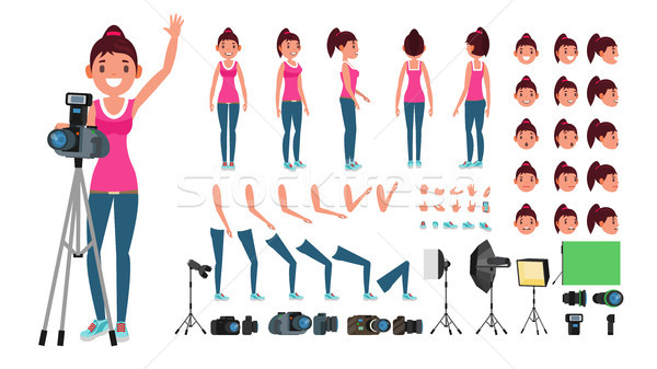 Photographer Female Vector. Animated Woman Creation Set. Full Length, Front, Side, Back View. Isolat Stock photo © pikepicture