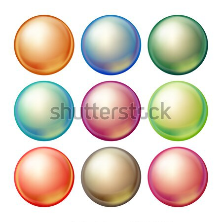 Round Spheres Set Vector. Set Opaque Multicolored Spheres With Glares, Shadows. Abstract Ellipse, Ba Stock photo © pikepicture